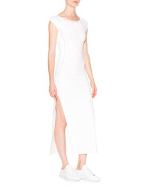 Cap-Sleeve Ballet Dress w/ Mesh Insets, White