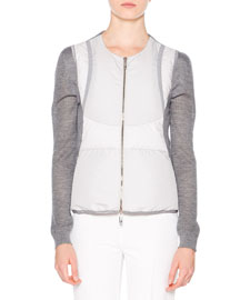 Zip-Front Down Vest, Gray