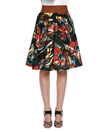 Floral-Print Pleated A-Line Skirt