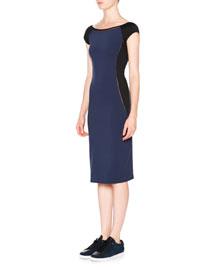 Cap-Sleeve V-Back Midi Sheath Dress