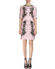 Emmalina Half-Sleeve Silk Crepe Dress, Black/Pink