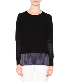 Knit Sweater w/Contrast Silk Underlay, Navy/Black