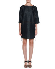 3/4-Sleeve Denim Side-Zip Dress