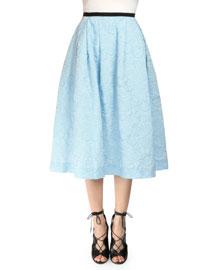 Imari Cloque Midi Skirt, Pale Blue