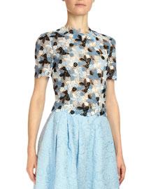 Emiko Floral-Lace Crop Top, Blue
