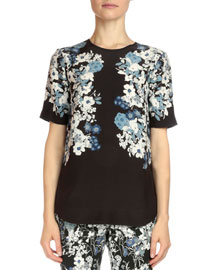 Reena Floral-Print Silk Crepe Top, Black/Blue