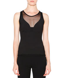 Illusion-Neck Jersey Top, Black