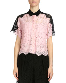 Berry Scalloped Lace Shirt, Pink