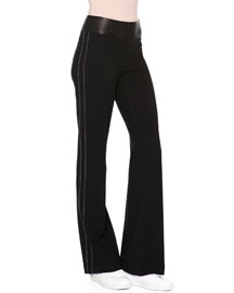 Mid-Rise Flare-Leg Pants, Black