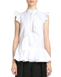 Camellia Pique-Knit Poplin Peplum Top, White