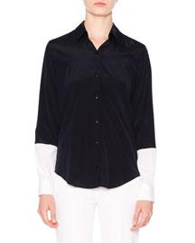 Colorblock Button-Down Shirt, Navy/White