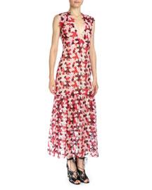 Alex V-Neck Guipure Lace Midi Dress