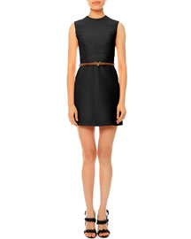 Sleeveless Jewel-Neck Belted Dress, Black