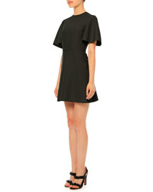 Flutter-Sleeve Crepe Couture Dress, Black