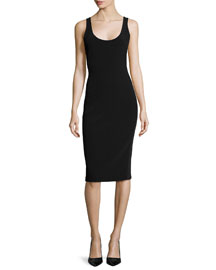 Farrah Scoop-Neck Open-Back Sheath Dress