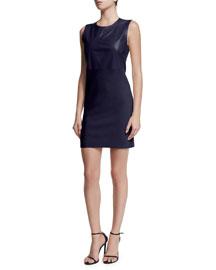 Wera Sleeveless Leather-Paneled Dress, Navy