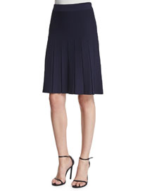 Wafi Pleated A-Line Skirt, Navy