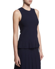 Wanda Sleeveless Pleat-Hem Top, Navy