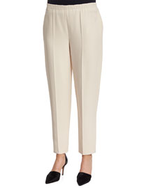 Straight-Leg Stretch-Knit Pants, Sand