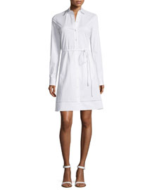 Fedra Long-Sleeve Cutout Cotton Shirtdress, White
