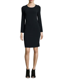 Filipa Long-Sleeve Button-Side Sheath Dress