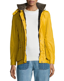 Waxed Long-Sleeve Hooded Jacket, Bright Mustard