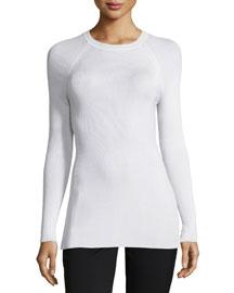 Ribbed Raglan-Sleeve Crewneck Sweater, Chalk