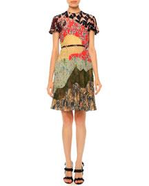 Pleated Short-Sleeve Patchwork Silk Dress, Garden Party