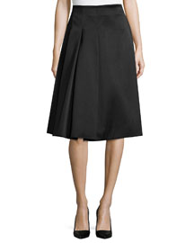Pleated Satin-Twill A-Line Skirt, Black