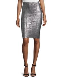 Metallic Bandage Pencil Skirt, Gunmetal
