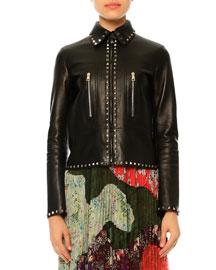 Rockstud Leather Zip-Front Jacket, Black