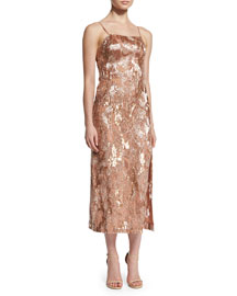 Beaded Silk Midi Dress, Blossom