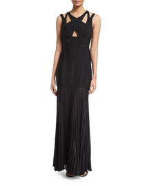 Sleeveless Strappy Pleated Bandage Gown, Black