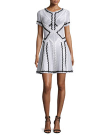 Short-Sleeve Zigzag Fit-and-Flare Dress, Alabaster Combo
