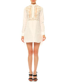 Long-Sleeve Lace-Bib Poplin Tunic Dress, White