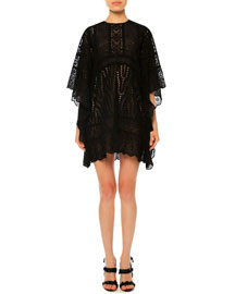 Sangallo Lace Cape Dress, Black