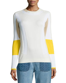 Colorblock Ribbed Moto Sweater, White/Yellow