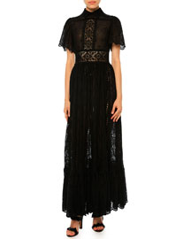 Sangallo Lace Flutter-Sleeve Gown, Black (Nero)