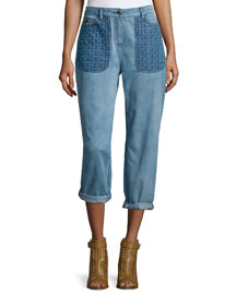 Quilted-Pocket Boyfriend Jeans, Indigo