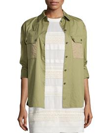 Fatigue Patch-Pocket Shirt, Olive