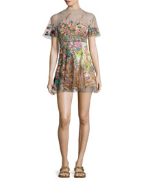 Short-Sleeve Embroidered Illusion Dress