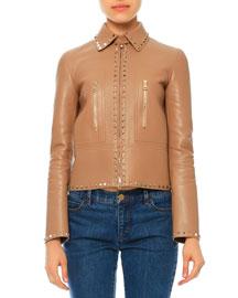 Rockstud Leather Zip-Front Jacket, Camel Rose