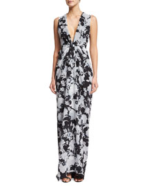 Sleeveless Plunging Floral-Print Gown, Black/White
