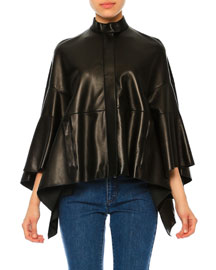 Arched Leather Poncho Jacket, Black