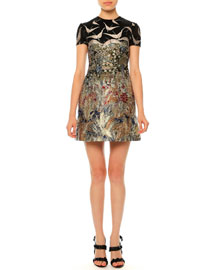 Short-Sleeve Landscape-Print Dress, Black