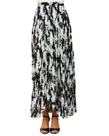 Pleated Floral-Print Long Skirt, Black/White