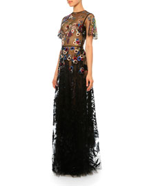 Floral Short-Sleeve Tulle Gown, Multi