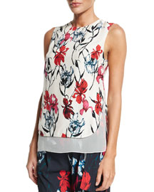 Layered Floral-Print Sleeveless Top, Pink