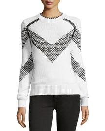 Long-Sleeve Chevron Sweater, White