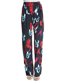 Floral-Print Cady Tie-Waist Pants, Pink Pattern